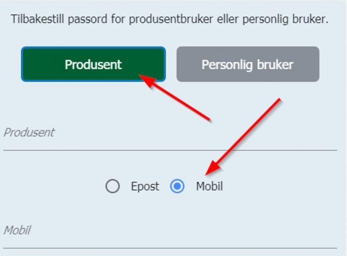 Klikk produsent og velg mobil